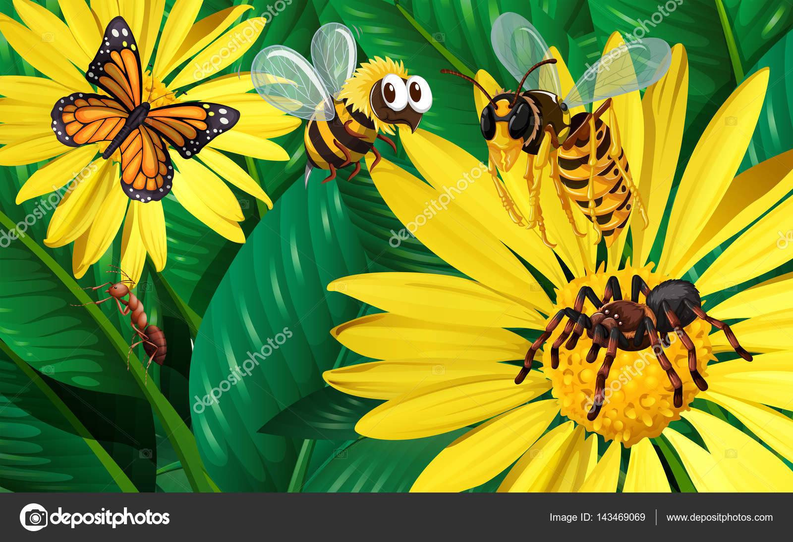 Different types of bugs flying around yellow flowers stock vector different types of bugs flying around yellow flowers illustration vector by blueringmedia mightylinksfo
