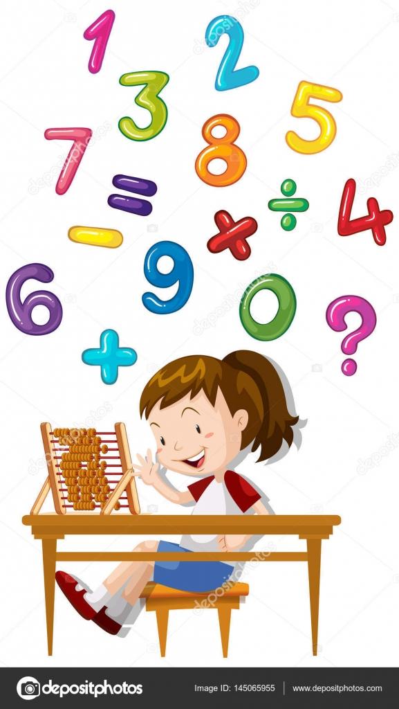 Chica contando números con el ábaco — Archivo Imágenes