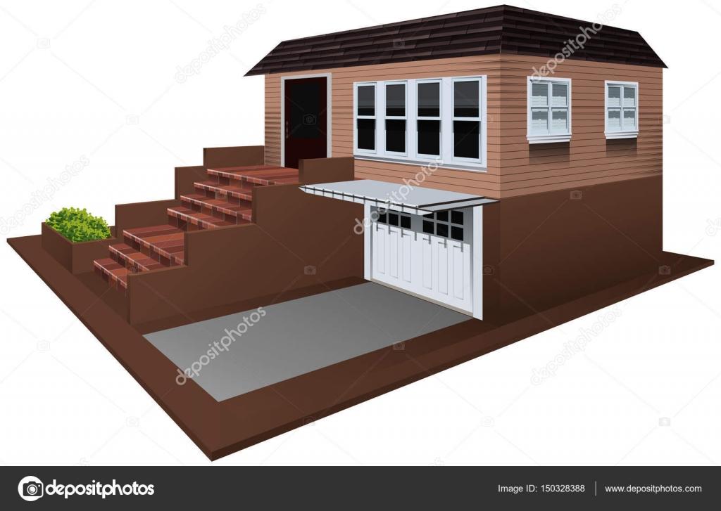 Progettazione Casa 3d : Progettazione d per casa con il garage u vettoriali stock