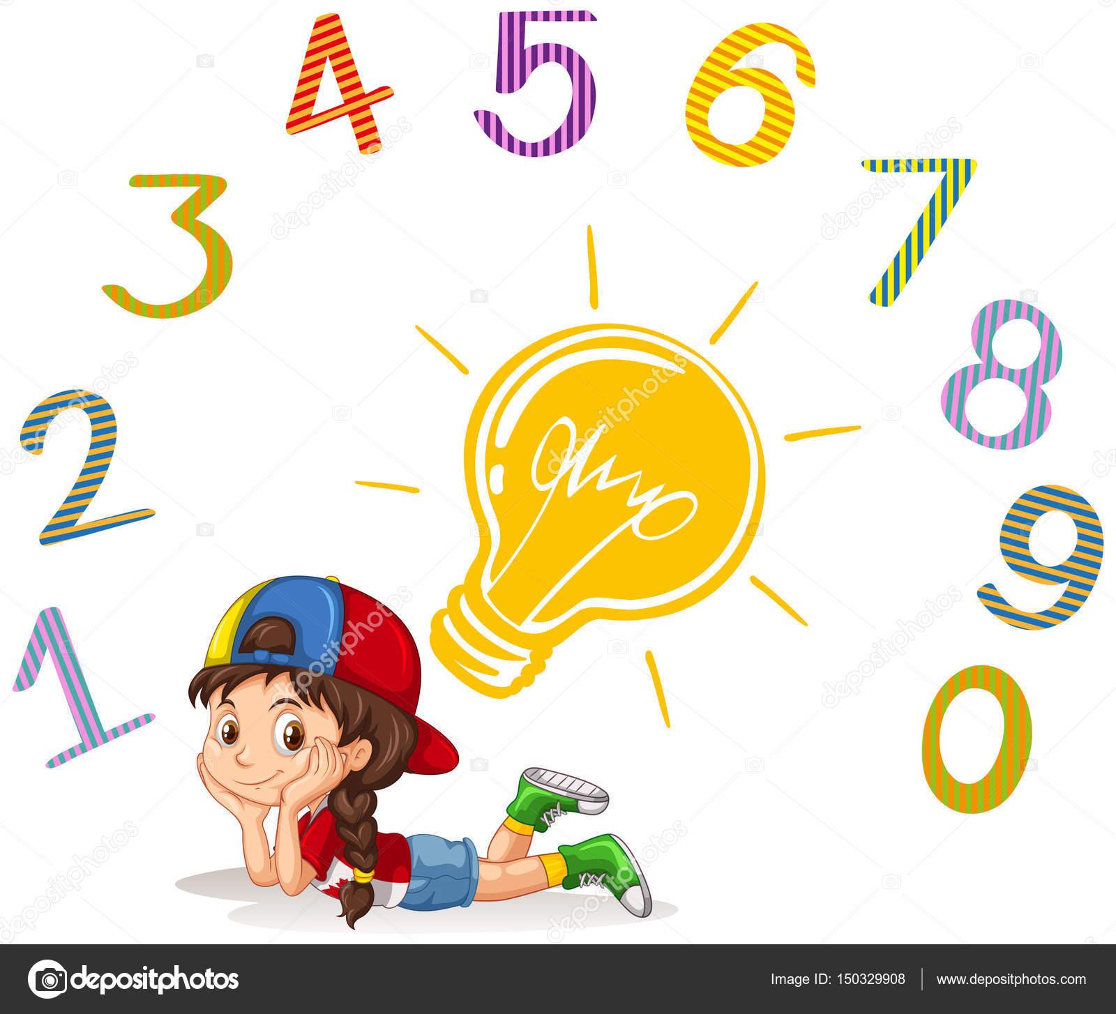 Niña y número uno a cero — Archivo Imágenes Vectoriales
