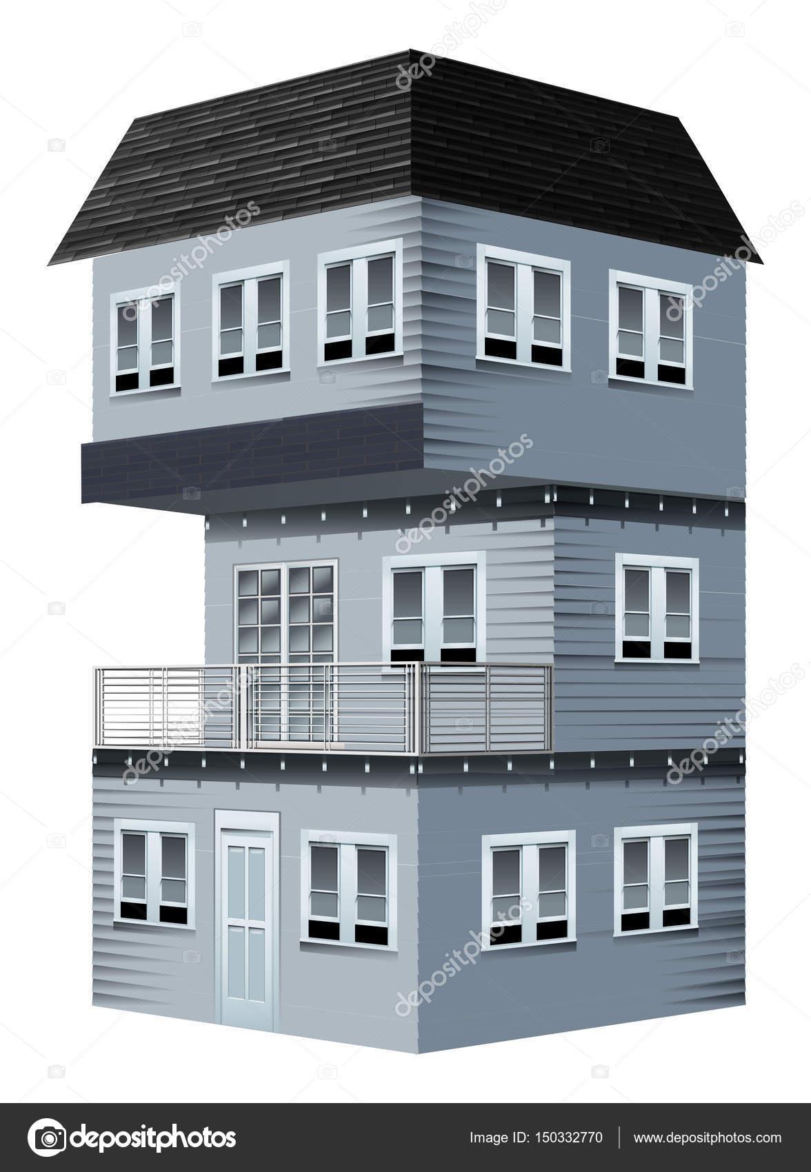Projeto 3D Para Casa Pintada Na Cor Cinza U2014 Vetores De Stock