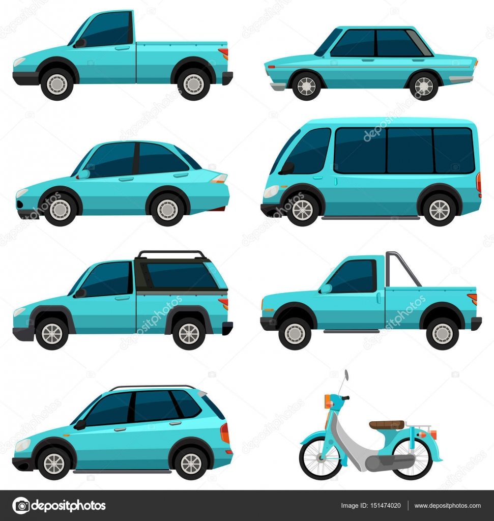 Different types of transportations in light blue color — Stock ...
