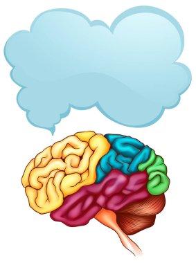 Human brain and speech bubble template