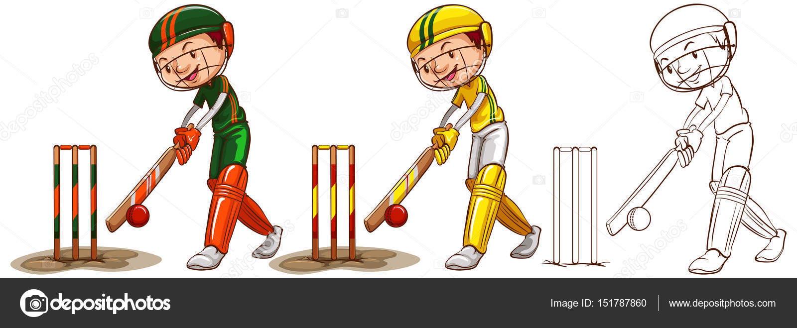 Doodle Character For Cricket Players Stock Vector