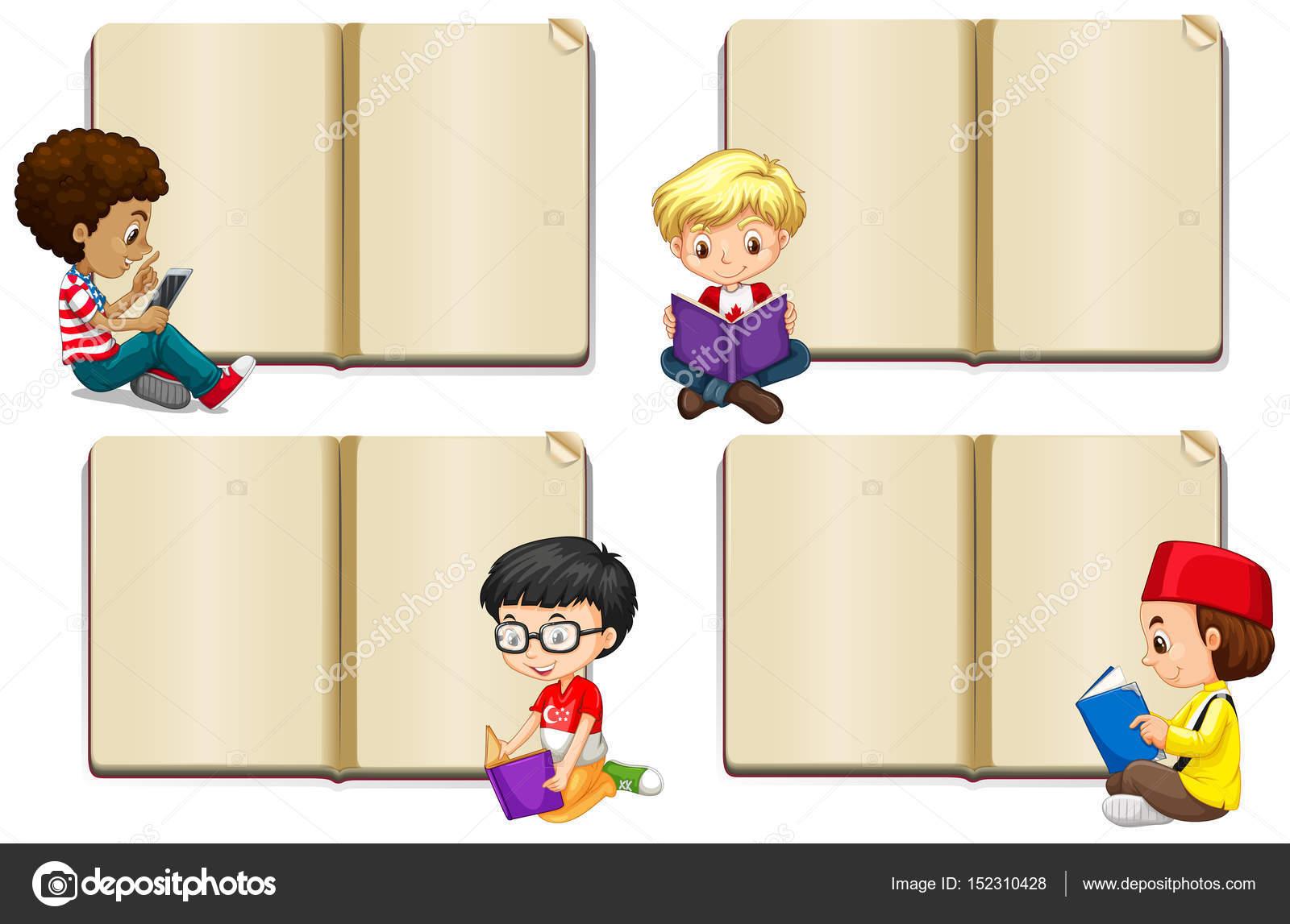 Plantilla de libro en blanco con los niños leyendo — Vector de stock ...