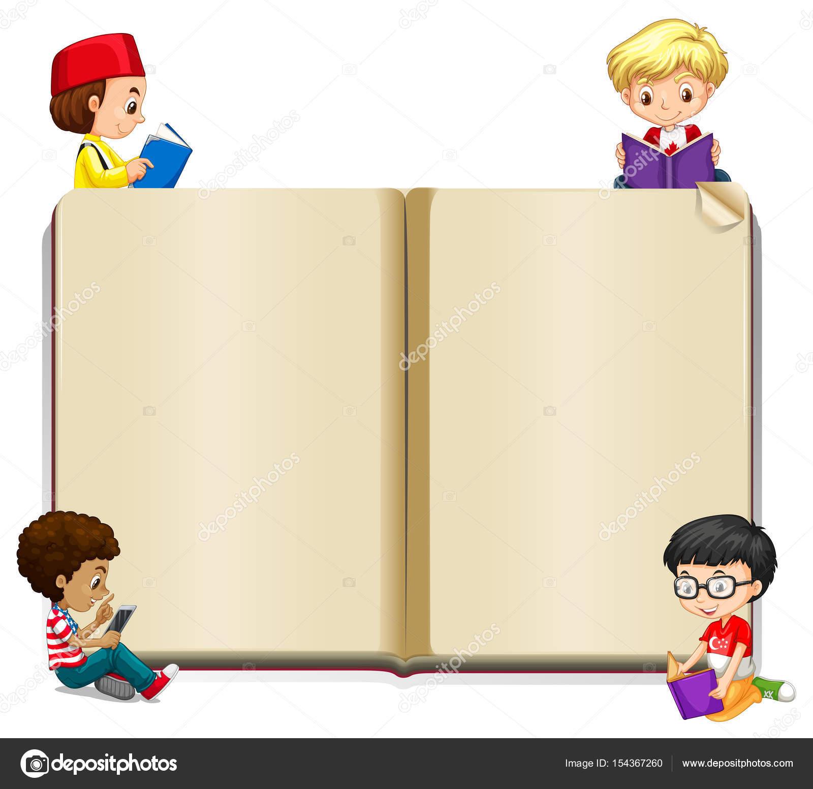 Plantilla de libro con los niños leyendo — Vector de stock ...