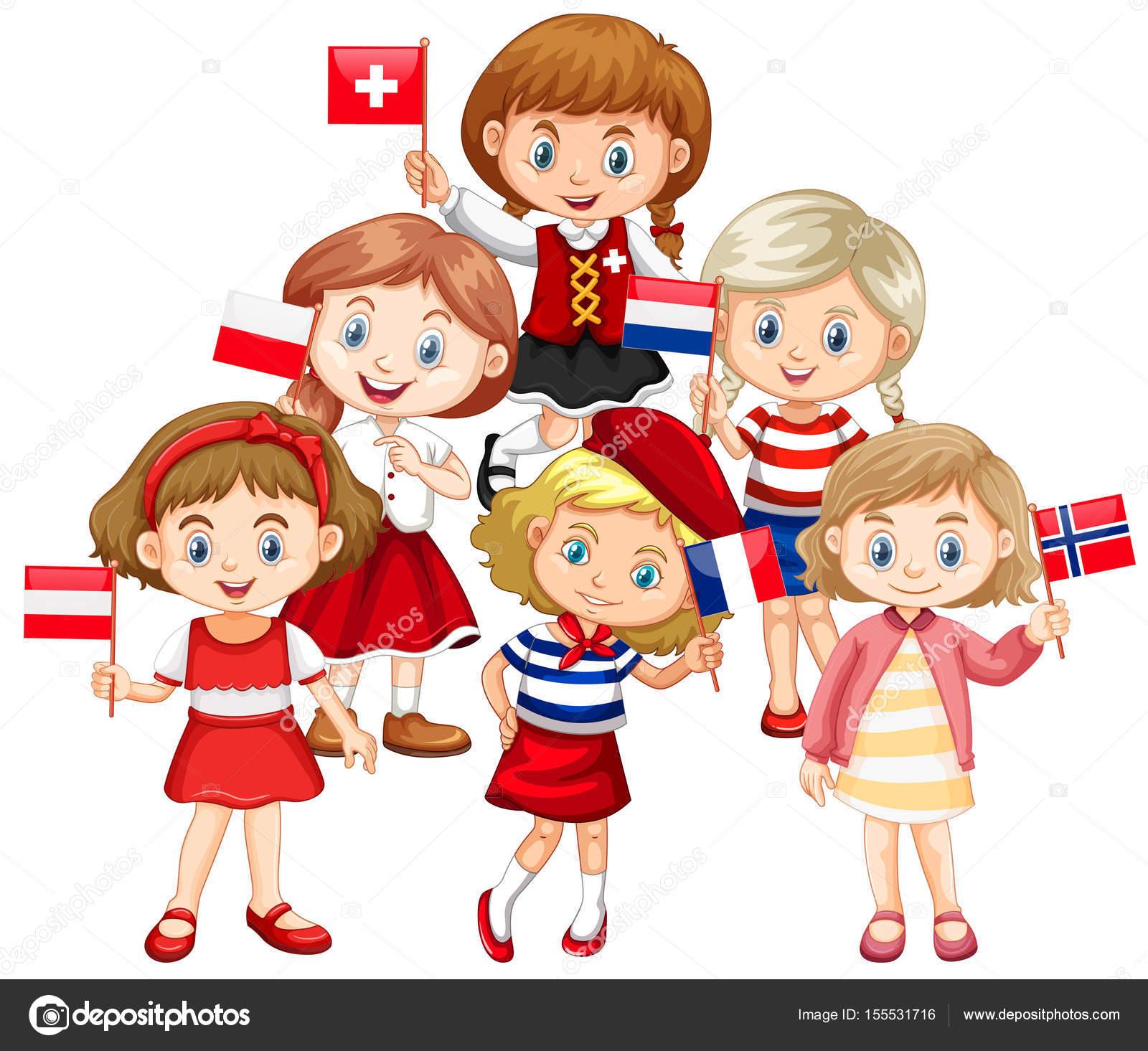 kinder mit fahnen aus verschiedenen ländern — stockvektor