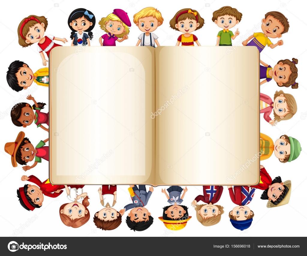 Plantilla de libro en blanco con los niños en la frontera — Archivo ...