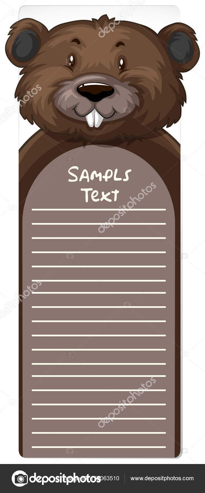 Plantilla de papel la línea con el castor — Vector de stock ...