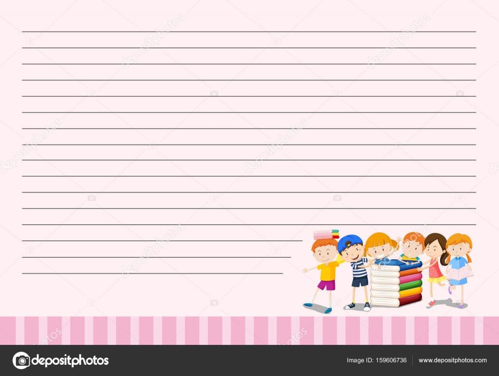 Linie Papier-Vorlage mit Kinder und Bücher — Stockvektor ...