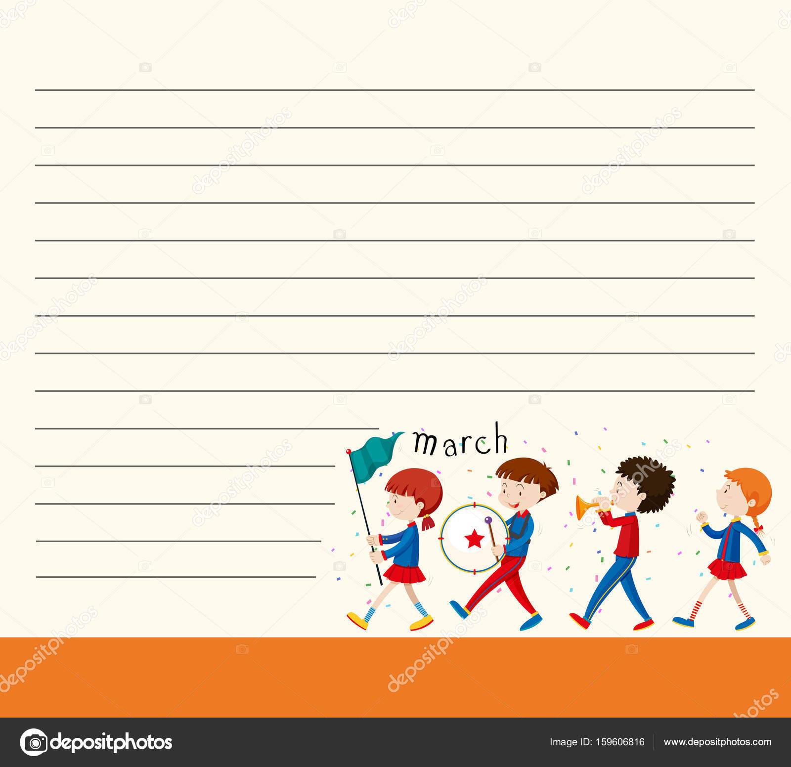 Linie Papier-Vorlage mit Kindern in Schulband — Stockvektor ...