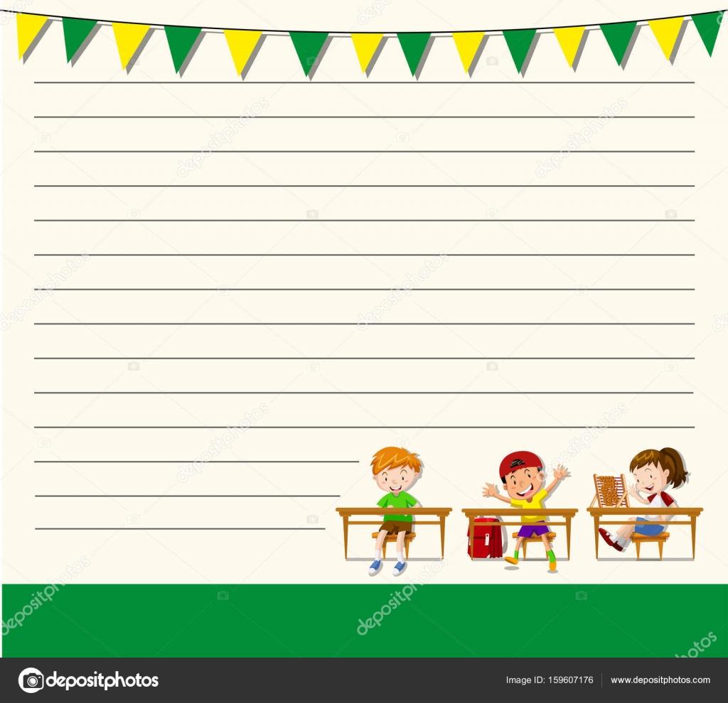 Linie Papier-Vorlage mit Kindern im Klassenzimmer — Stockvektor ...