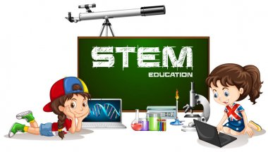 Girls learning and stem education sign