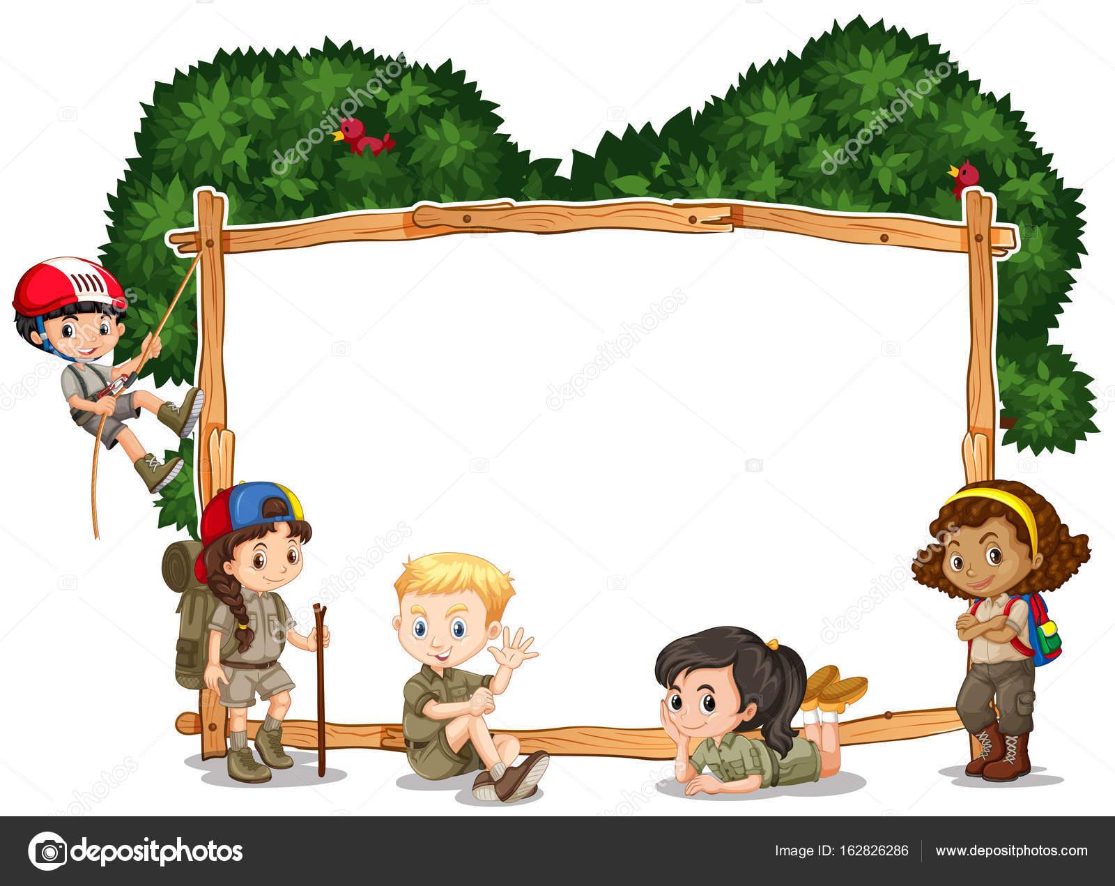 mod u00e8le de cadre avec les enfants  camping en arri u00e8re