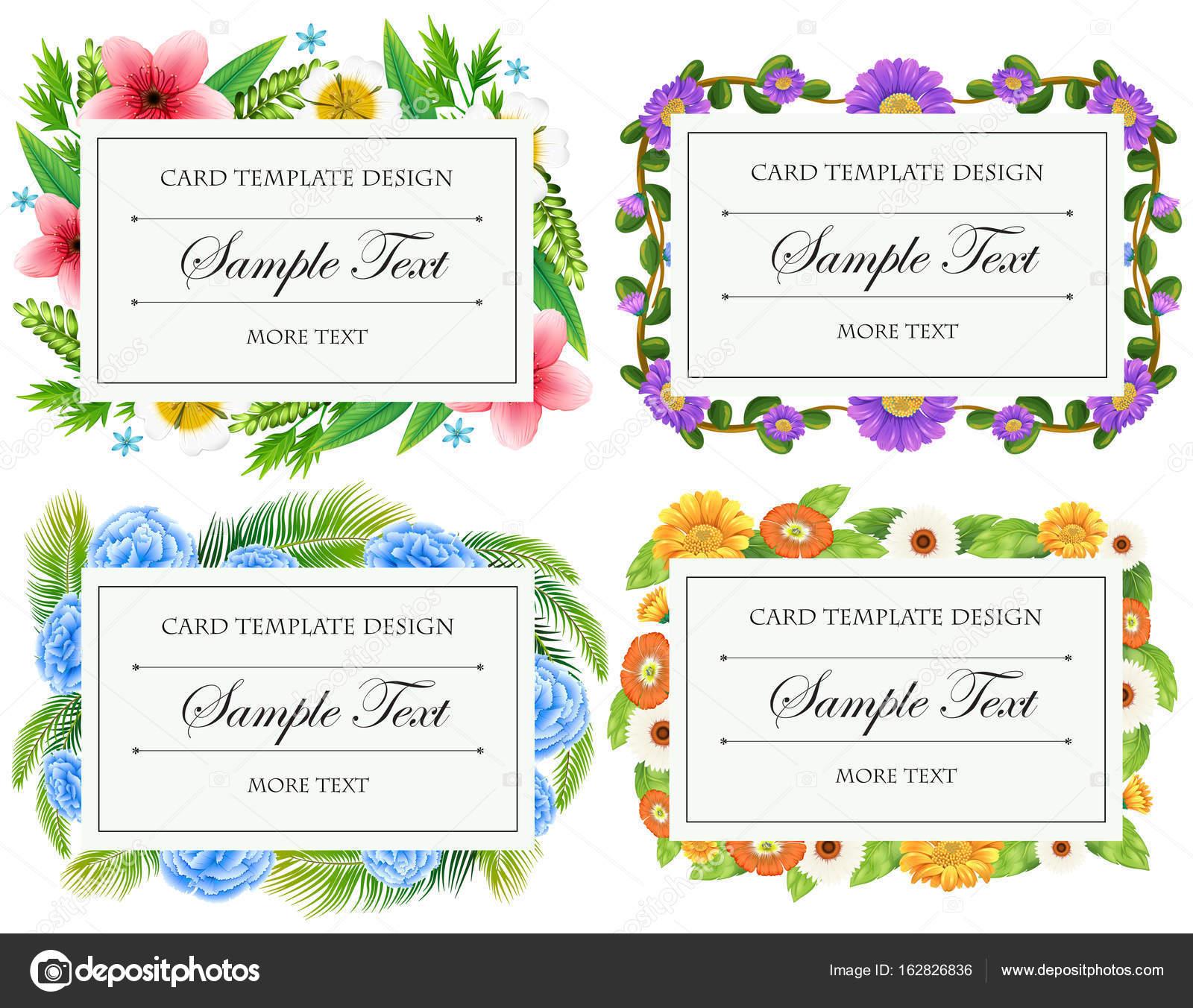 Diseño de plantillas de tarjetas con bordes de flores — Vector de ...