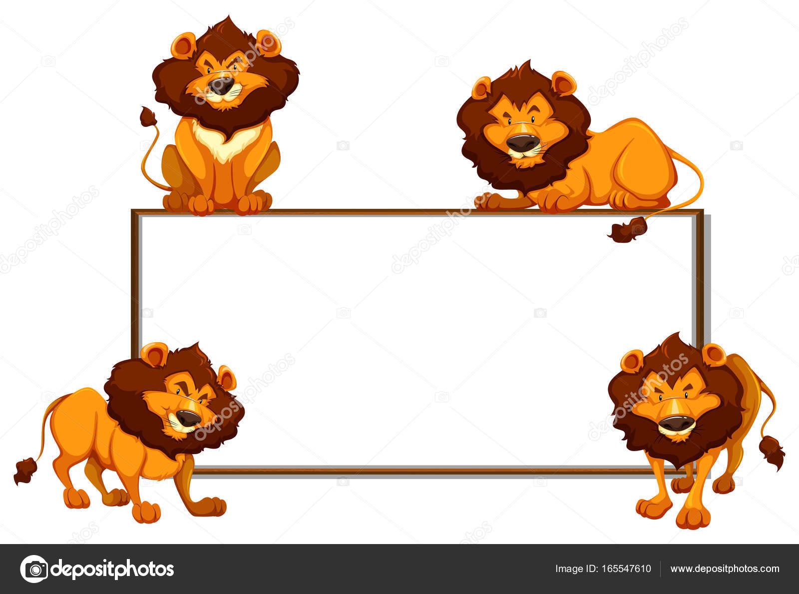Grenze-Vorlage mit vier Löwen — Stockvektor © blueringmedia #165547610