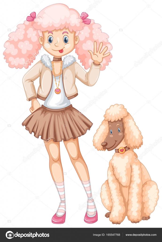 かわいい女の子とふわふわプードル犬 ストックベクター