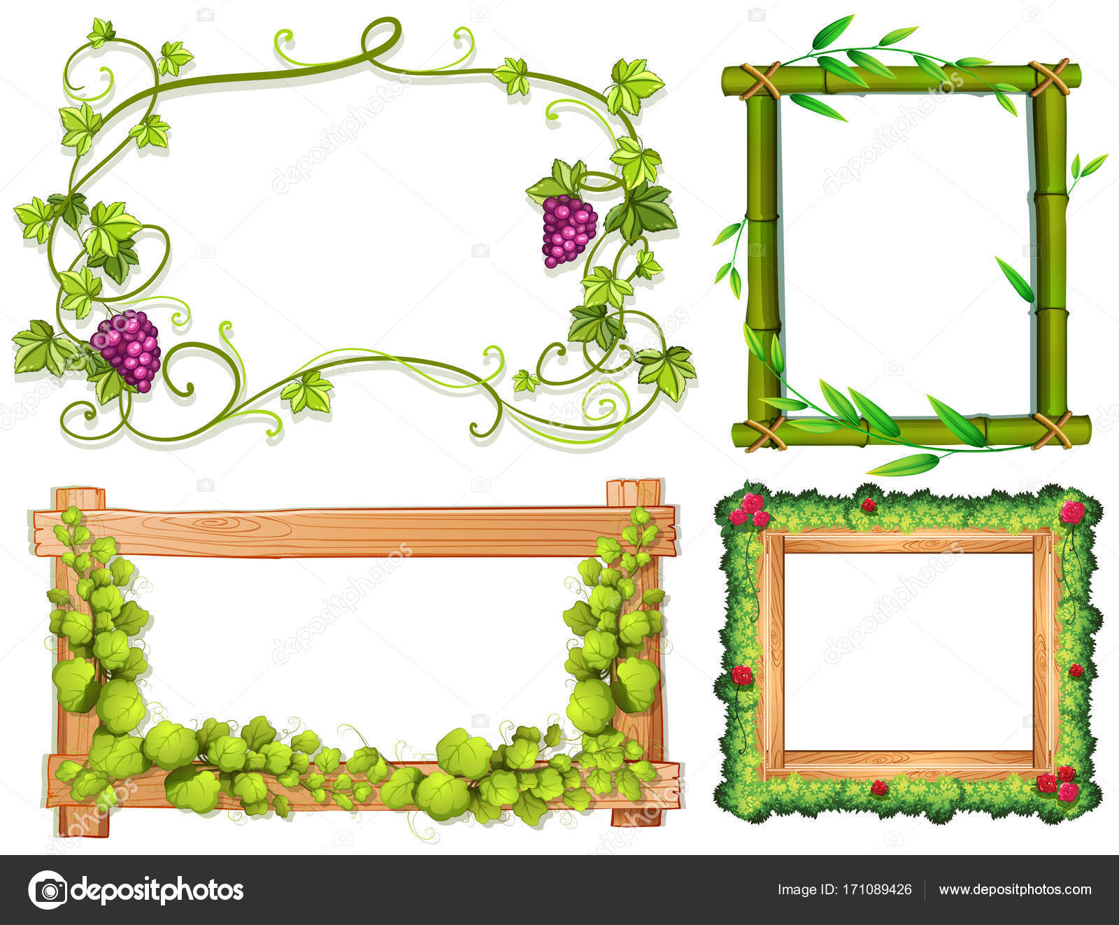 Four different designs of frames with green leaves — Stock Vector ...