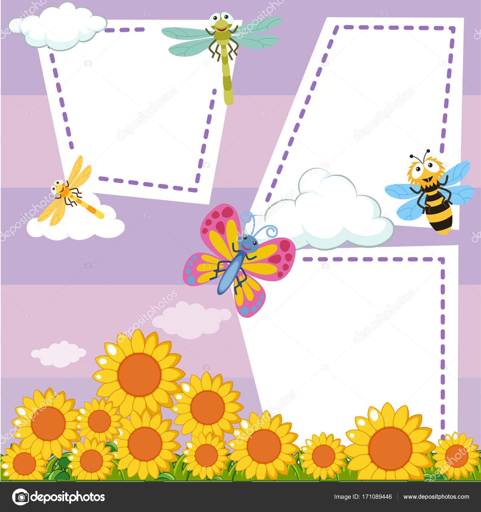 Grenze-Vorlage mit Bugs in Sonnenblumen Garten — Stockvektor ...