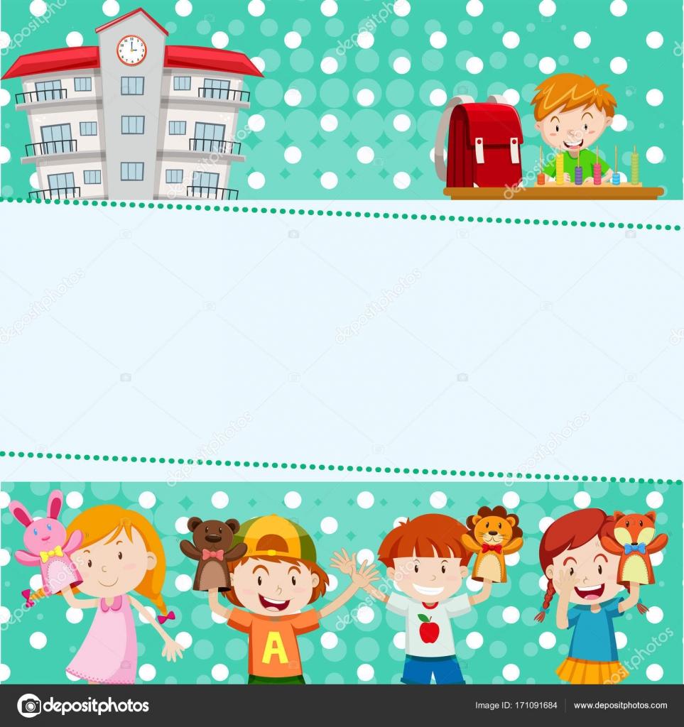 Grenze-Vorlage mit Kindern in der Schule — Stockvektor ...