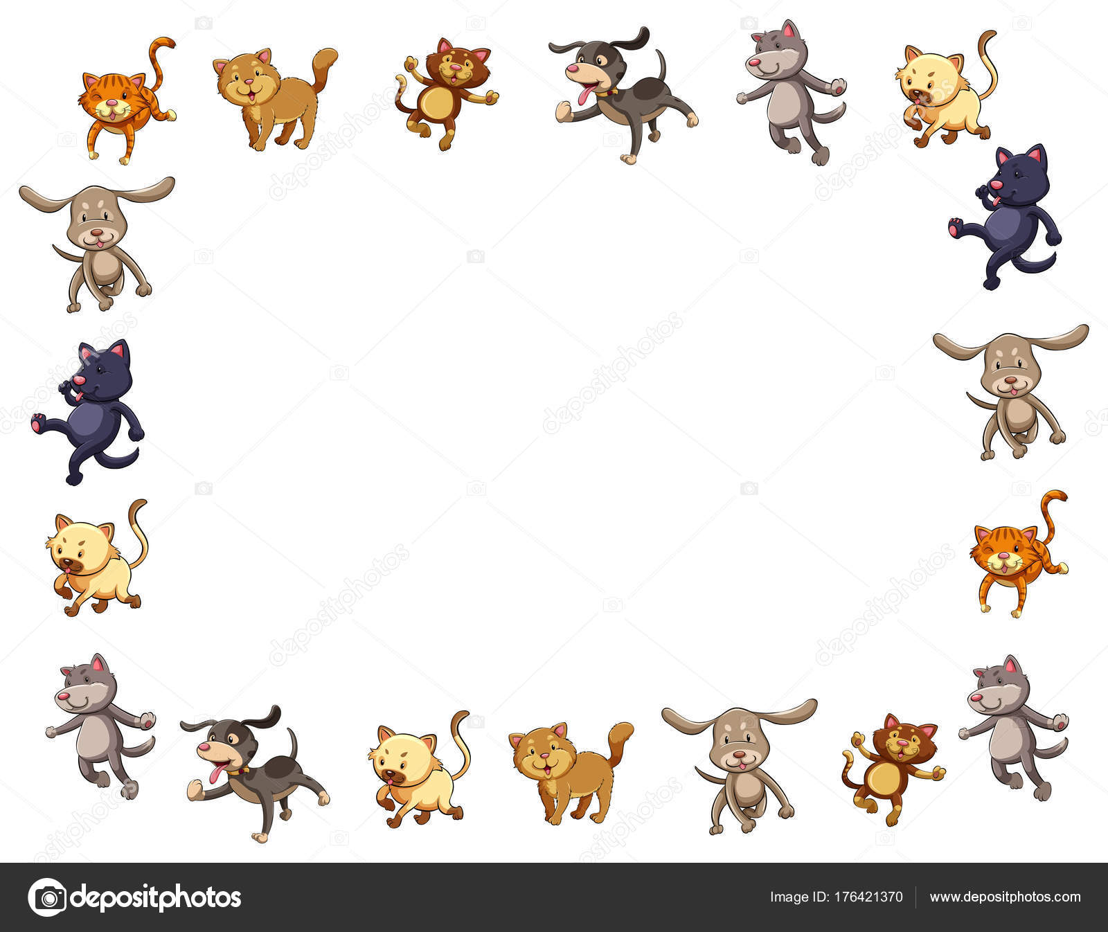 Border Template With Cute Cats And Dogs Stock Vector