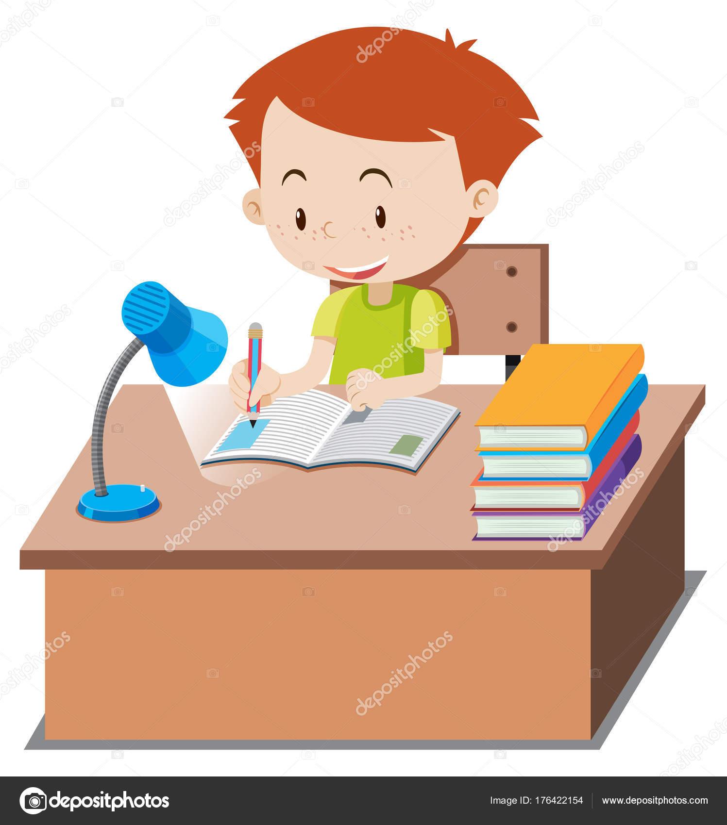 ni u00f1o haciendo la tarea en la tabla vector de stock clipart homework black and white clip art homework assignments