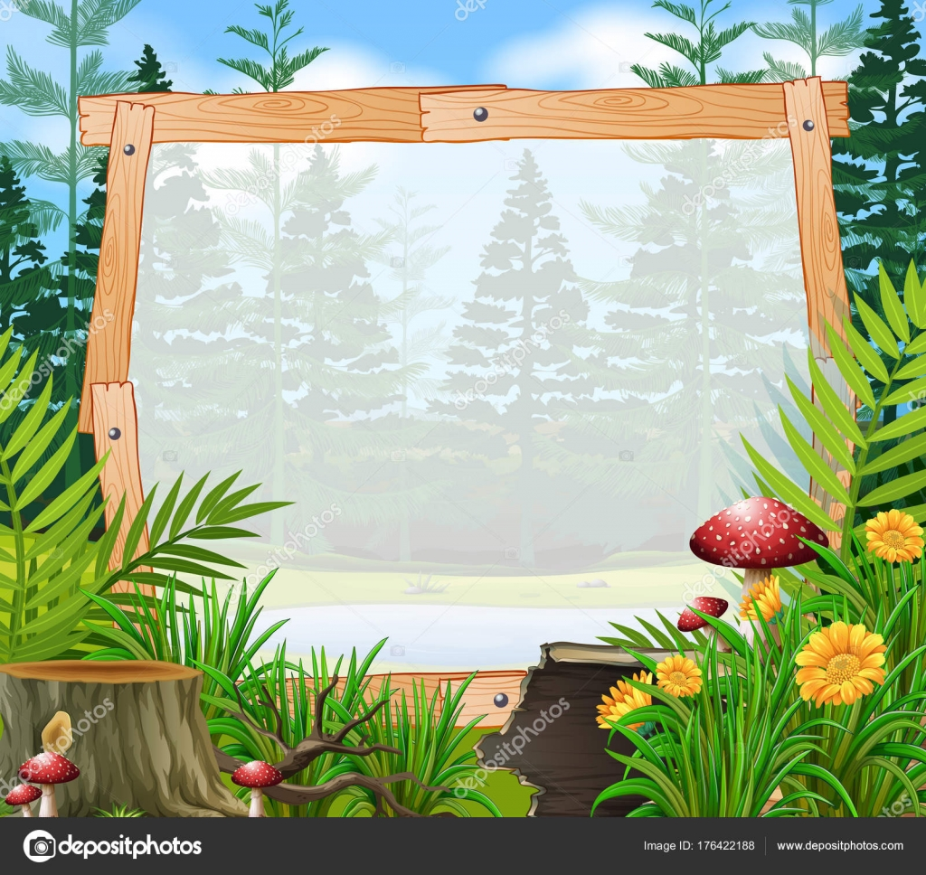 Border template with forest in background — Stock Vector ...