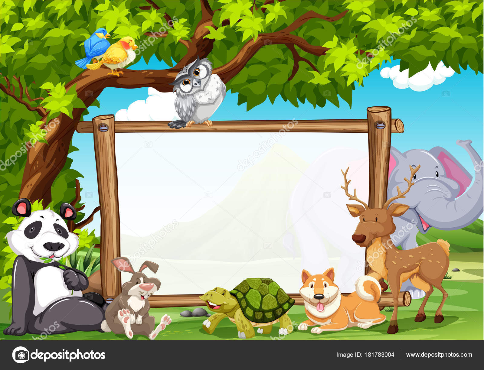 board template with wild animals in zoo stock vector