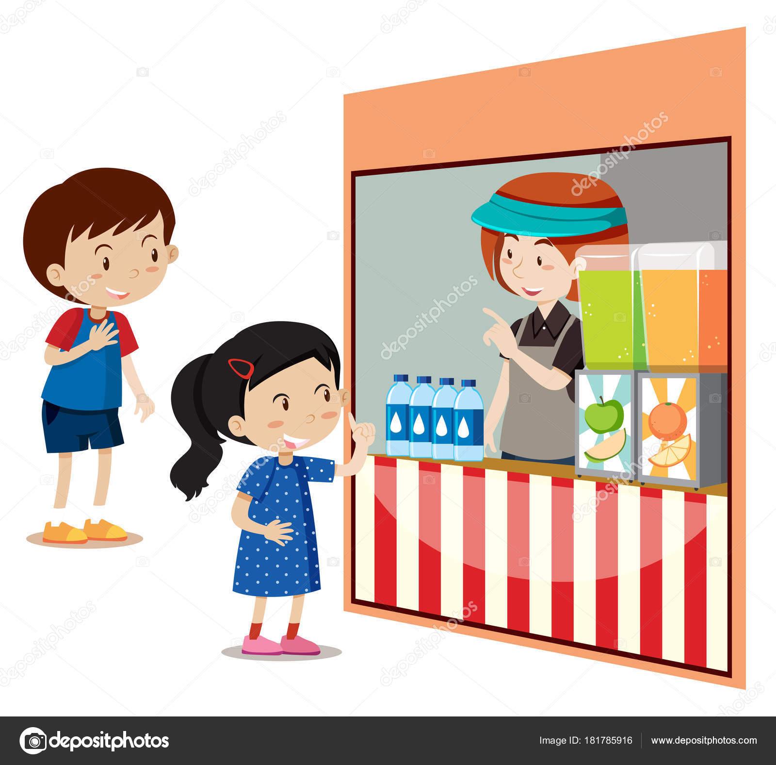 Kinder, die Getränke im Laden zu kaufen — Stockvektor ...