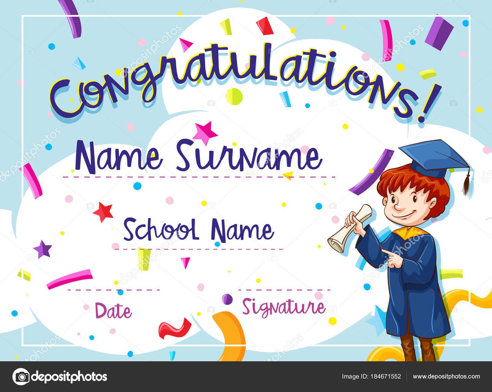 Zertifikat-Vorlage mit Kind in Graduation Kleid — Stockvektor ...