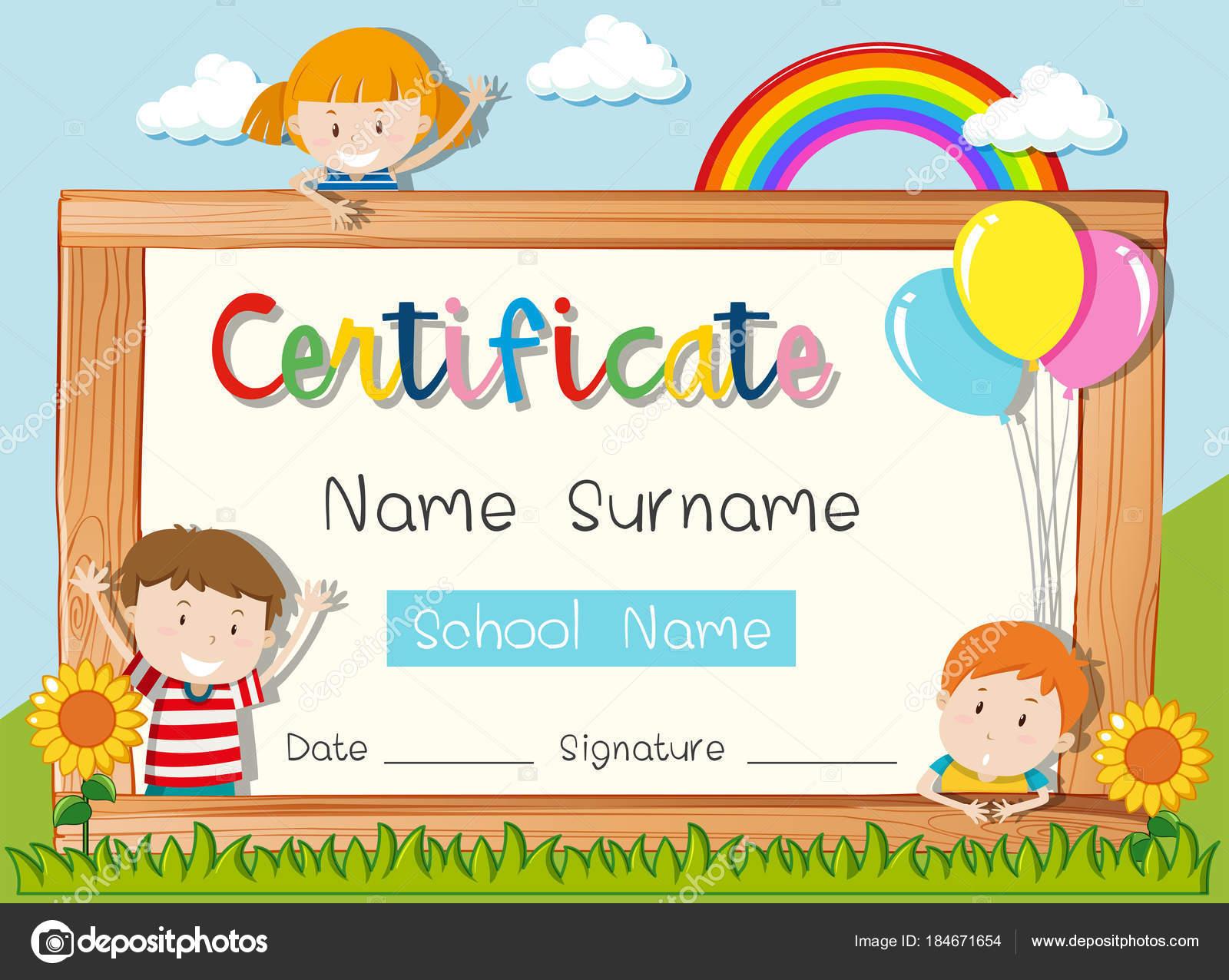 Zertifikat-Vorlage mit drei Kindern im park — Stockvektor ...