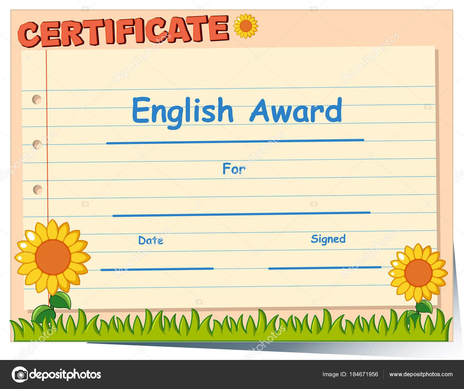 Zertifikatvorlage für englische award — Stockvektor © blueringmedia ...