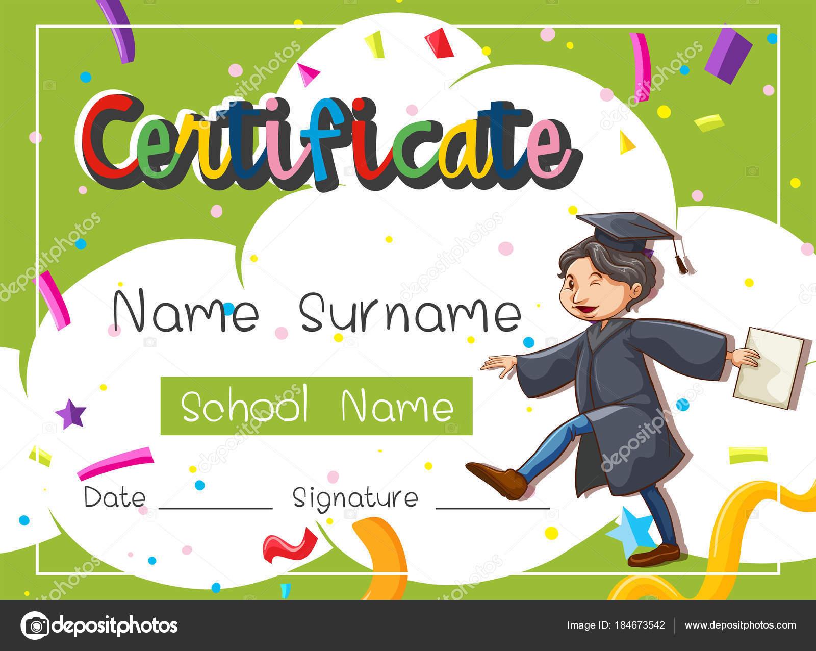 Zertifikat-Vorlage mit Mann in Graduation Kleid — Stockvektor ...