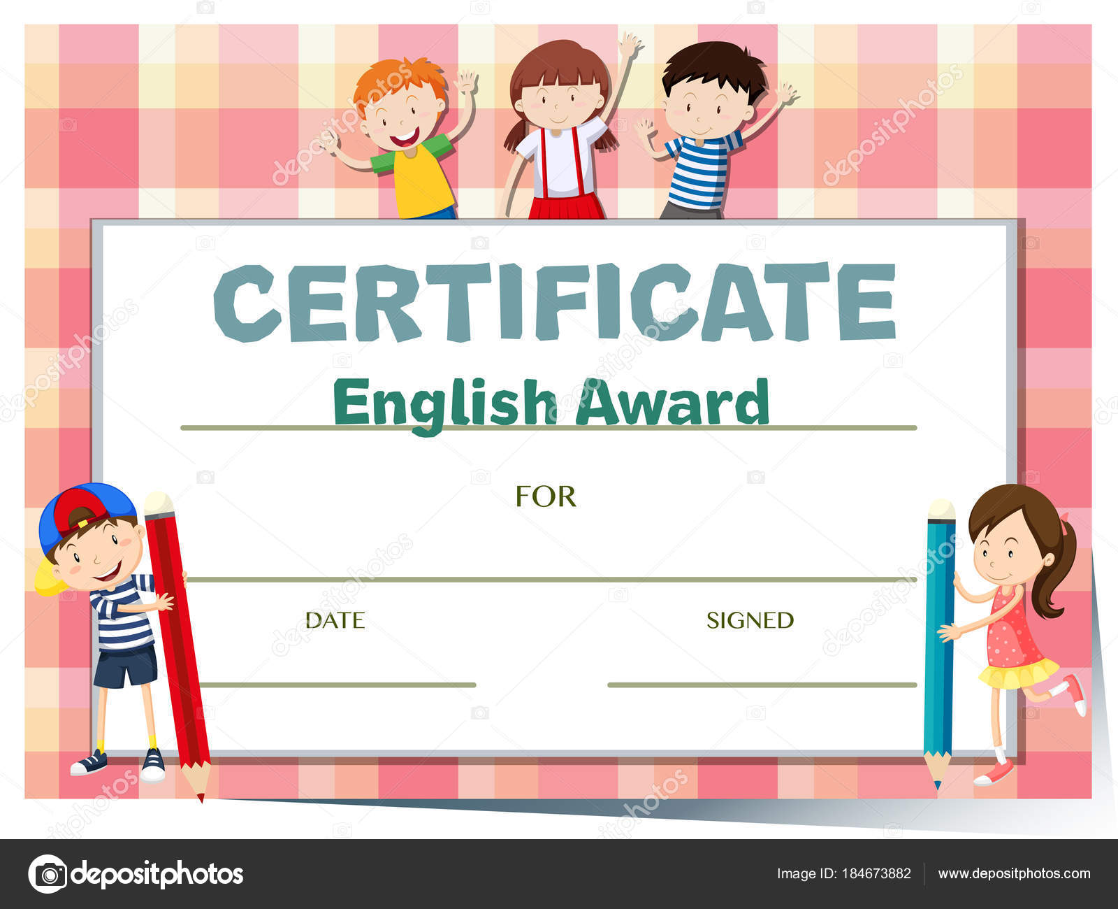 Certificate template for english award with many kids stock certificate template for english award with many kids illustration vector by blueringmedia 1betcityfo Images