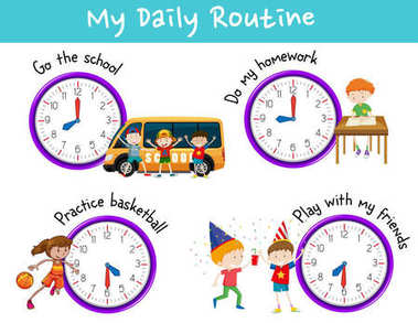 Daily routine for kids with clock and activities