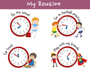 Different routines on poster with kids and activities