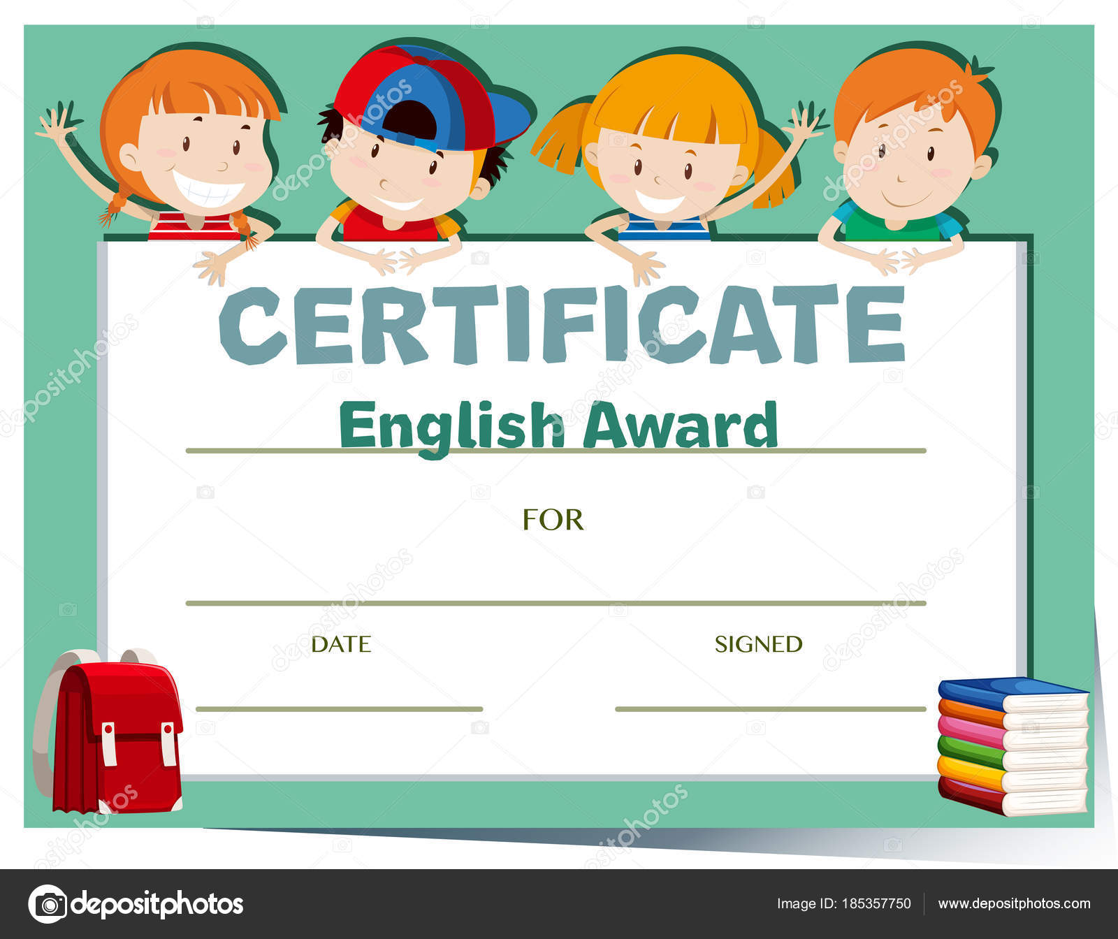 Zertifikat-Vorlage mit glücklichen Kindern — Stockvektor ...