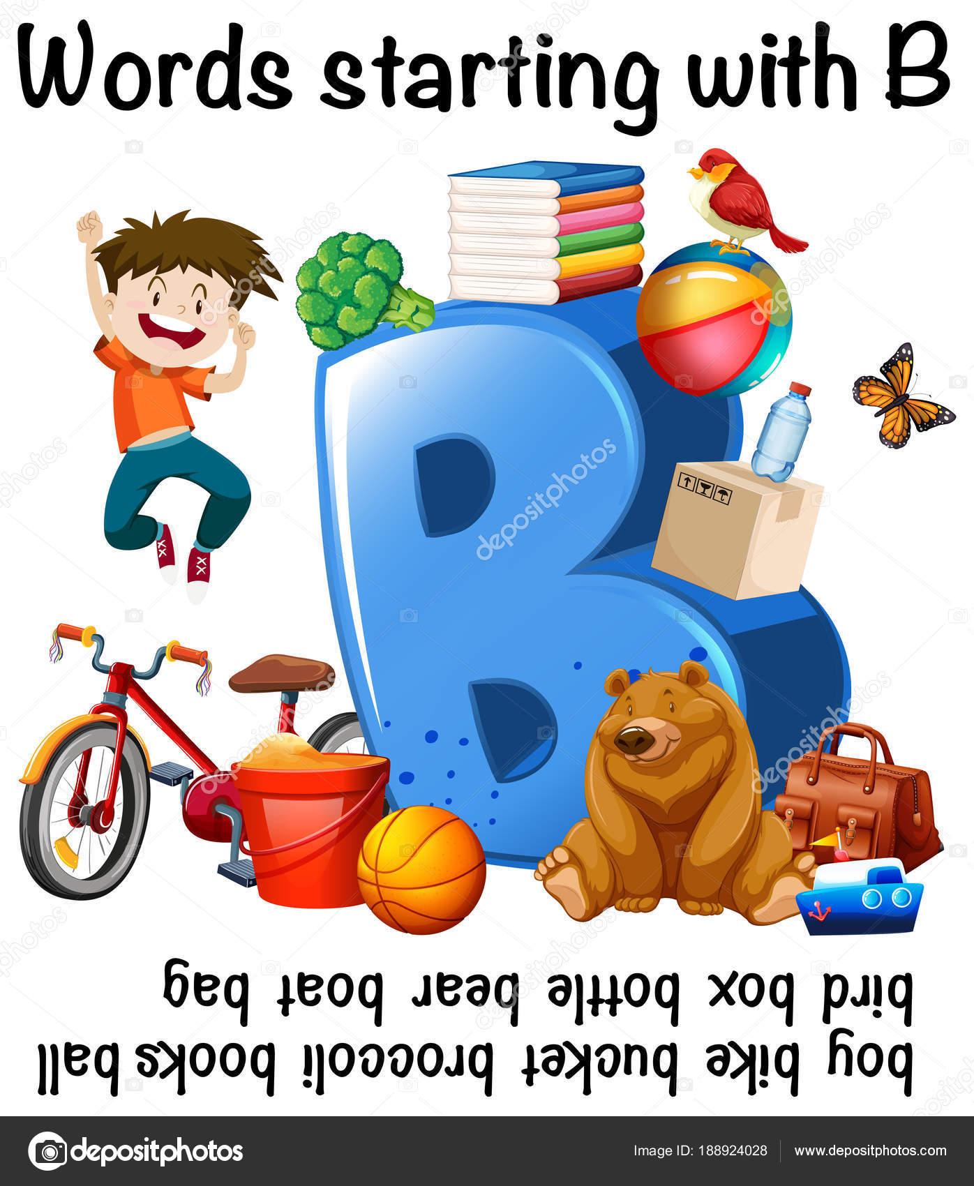 Arbeitsblatt-Design für Wörter beginnend mit B — Stockvektor ...