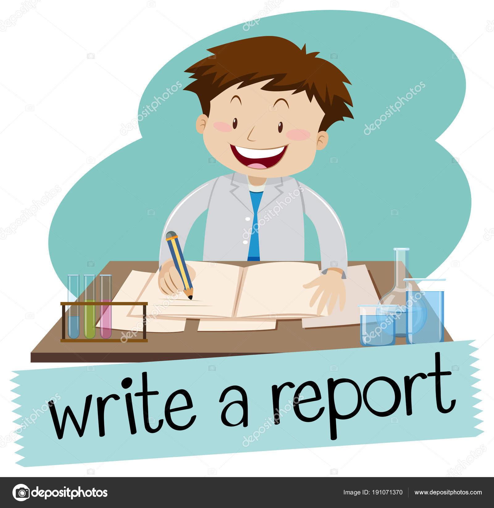 Schreiben Sie einen Bericht flashcard — Stockvektor © blueringmedia ...