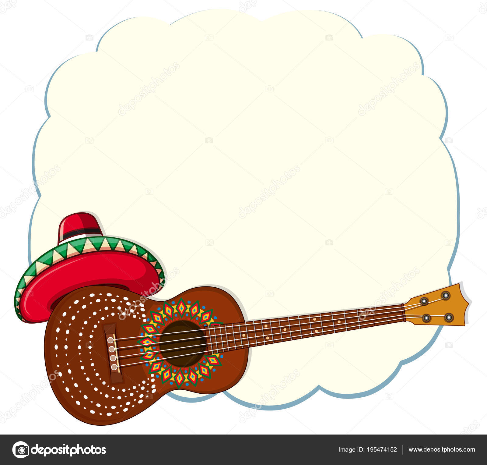 mexican style classical guitar template stock vector