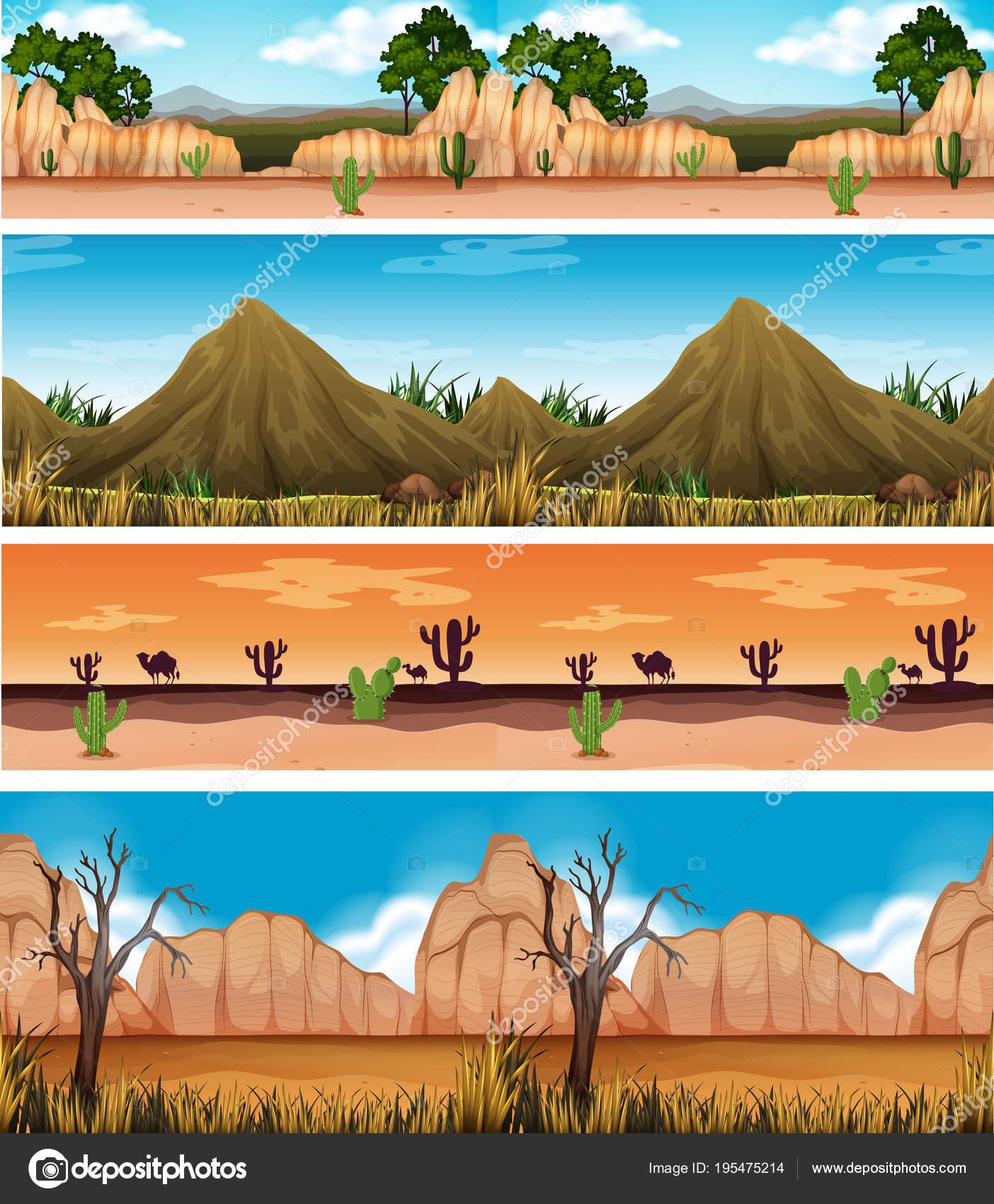 Cuatro diferentes desierto hermoso paisaje — Archivo Imágenes ...