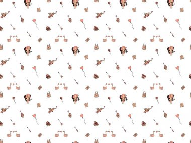 Valentine's day seamless pattern made from hand-drawn  doodles of cupid with a bow, pairs of swans with hearts, birds, roses, gifts, balloons, cakes, arrows, love notes on a white background. Vector.