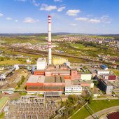 Photo Aerial view of modern combined heat and power plant.