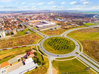 Aerial view of roundabout in Pilsen, Czech republic