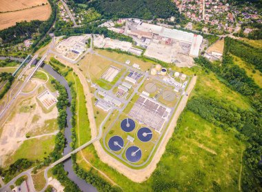Aerial view of public sewage treatment plant