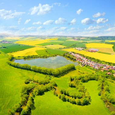 Aerial view to rural landscape with Uhlava river