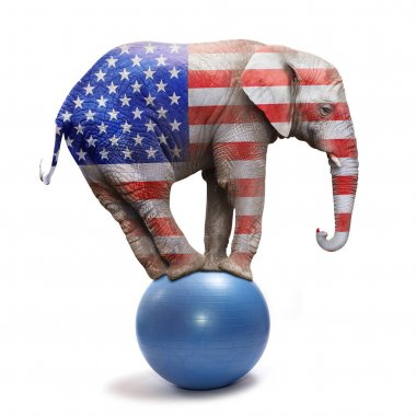 Republican elephant isolated on white.