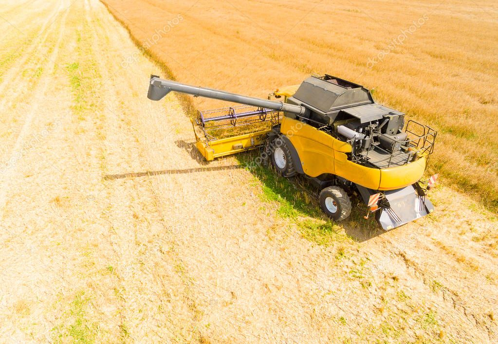Aerial view of combine harvester