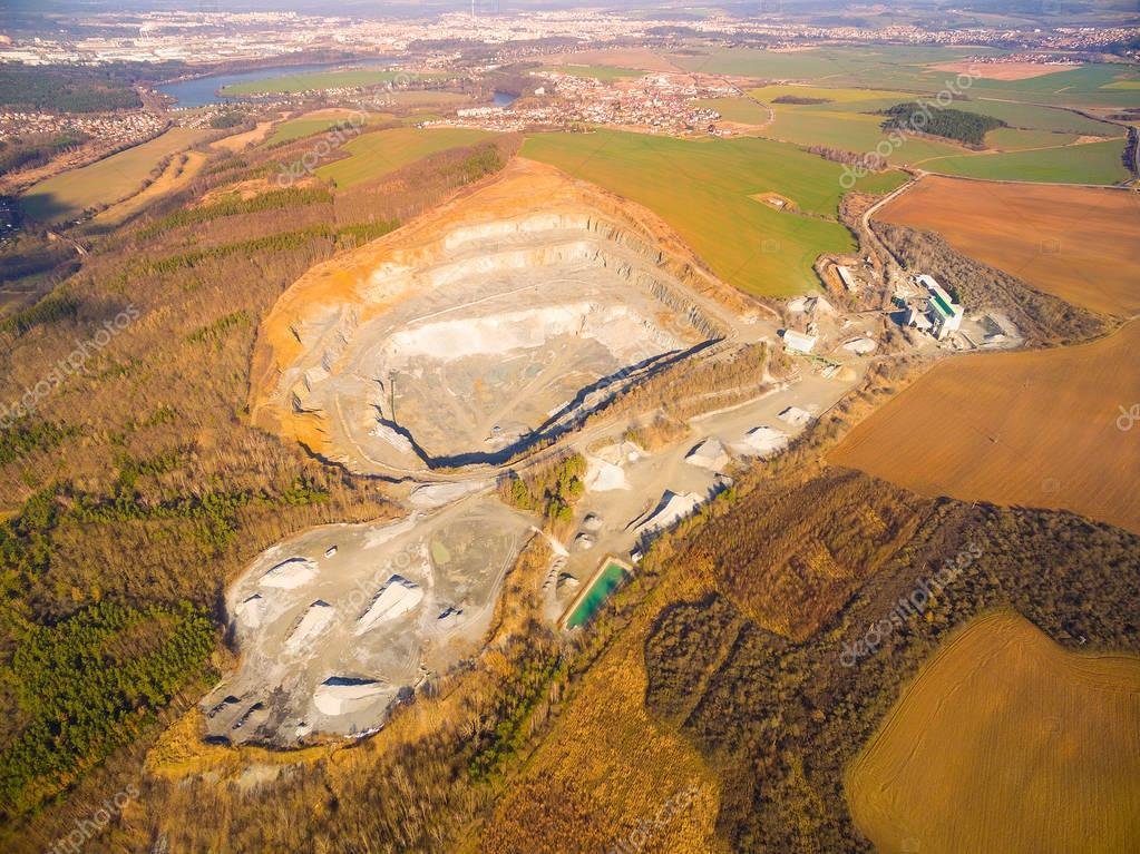 Aerial view of a open cast mine