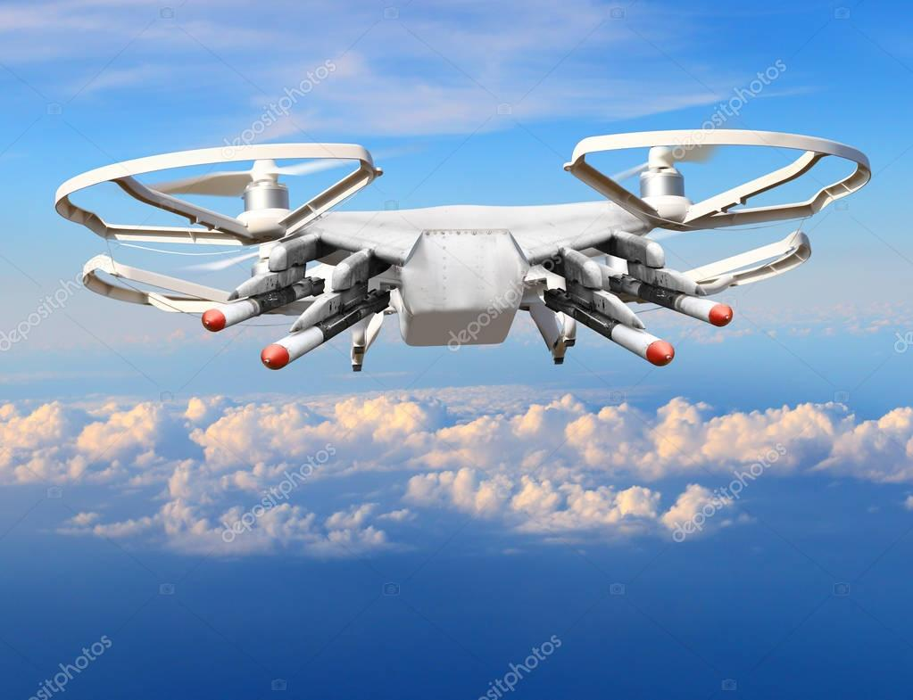 Drone with missiles over clouds.